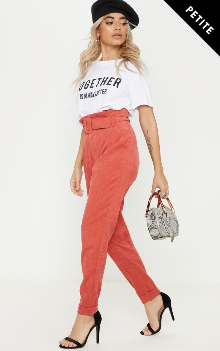 Petite Rust Cord Paper Bag Belted Pants 1