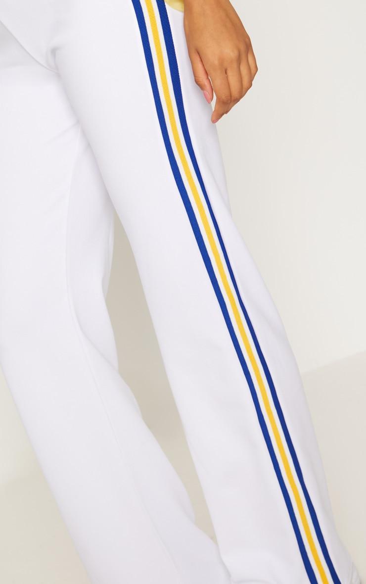 White Scuba Side Stripe Tape Wide Leg Trouser 5