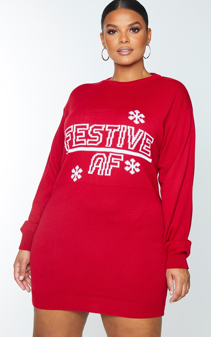 Plus Red Festive AF Xmas Sweater Dress 3