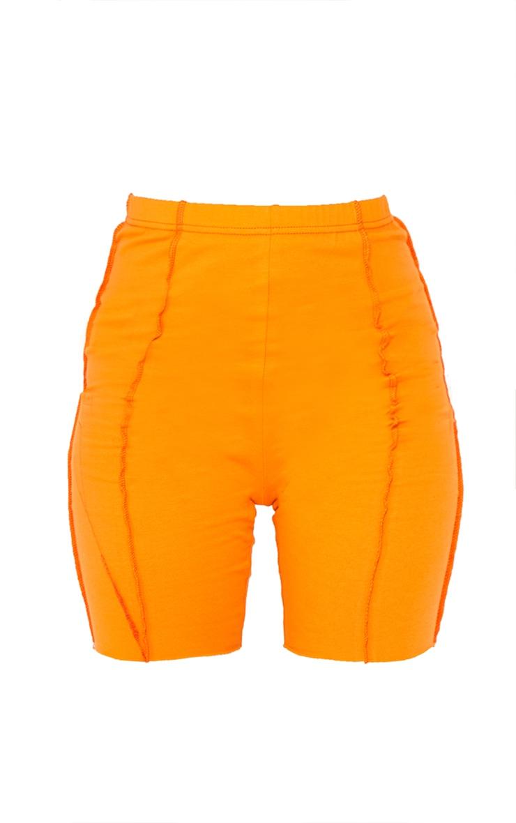 Orange Cotton Overlock Stitch Detail Cycle Shorts image 6
