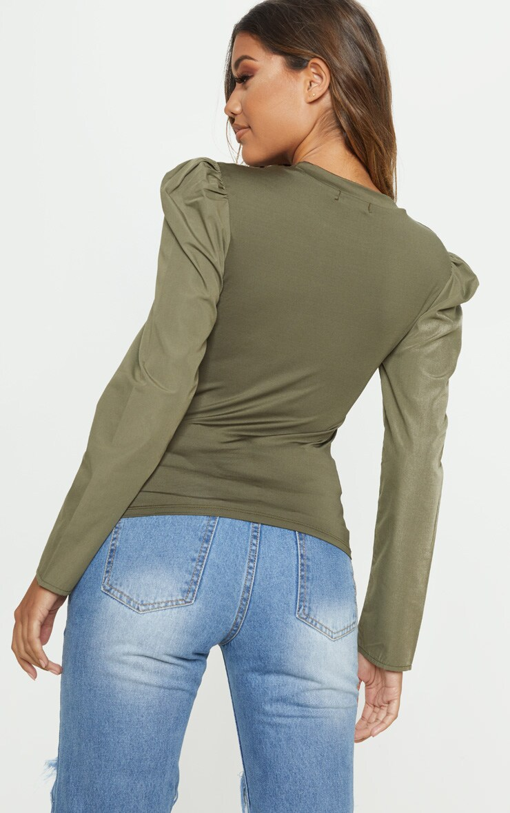 Khaki Long Sleeve Puff Shoulder Top 2