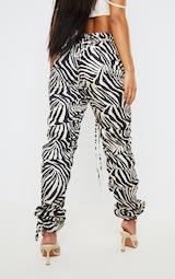 Zebra Print Ruched Leg Dip Waist Pants 3