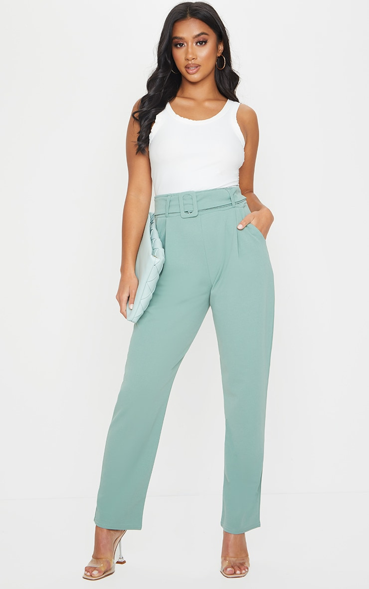 Petite Sage Green Buckle Detail Trouser 1