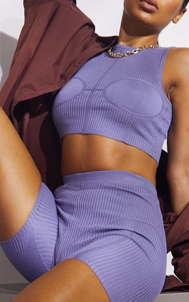 Steel Blue Premium Ribbed Knitted Bust Detail Short Set 4