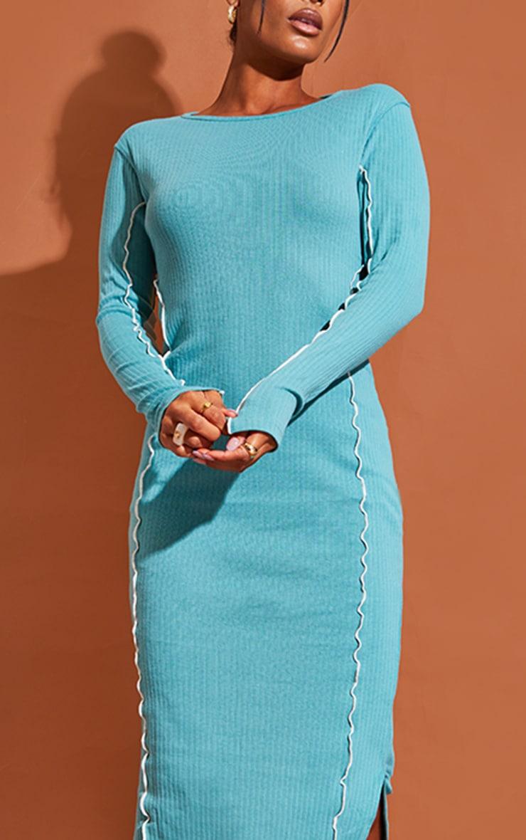 Washed Green  Rib Binding Seam Detail Split Hem Midaxi Dress 4