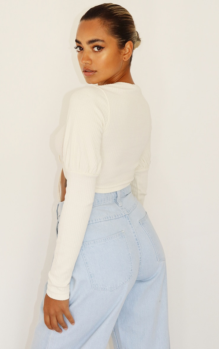 Petite Cream Ruched Front Ribbed Long Sleeve Crop Top 2