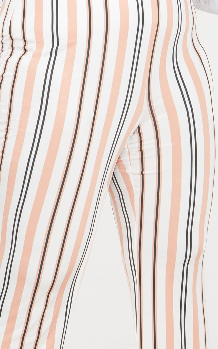 Plus White Slinky Striped Flared Trousers 5
