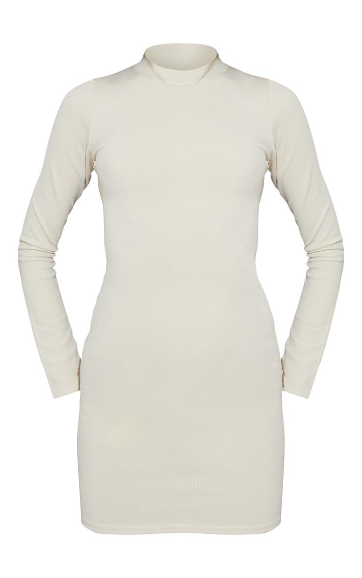 Cream Ribbed Long Sleeve Open Tie Back Bodycon Dress 5