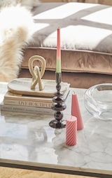 Baby Pink Swirl Pillar Scented Soy Wax Candle 12cm 2