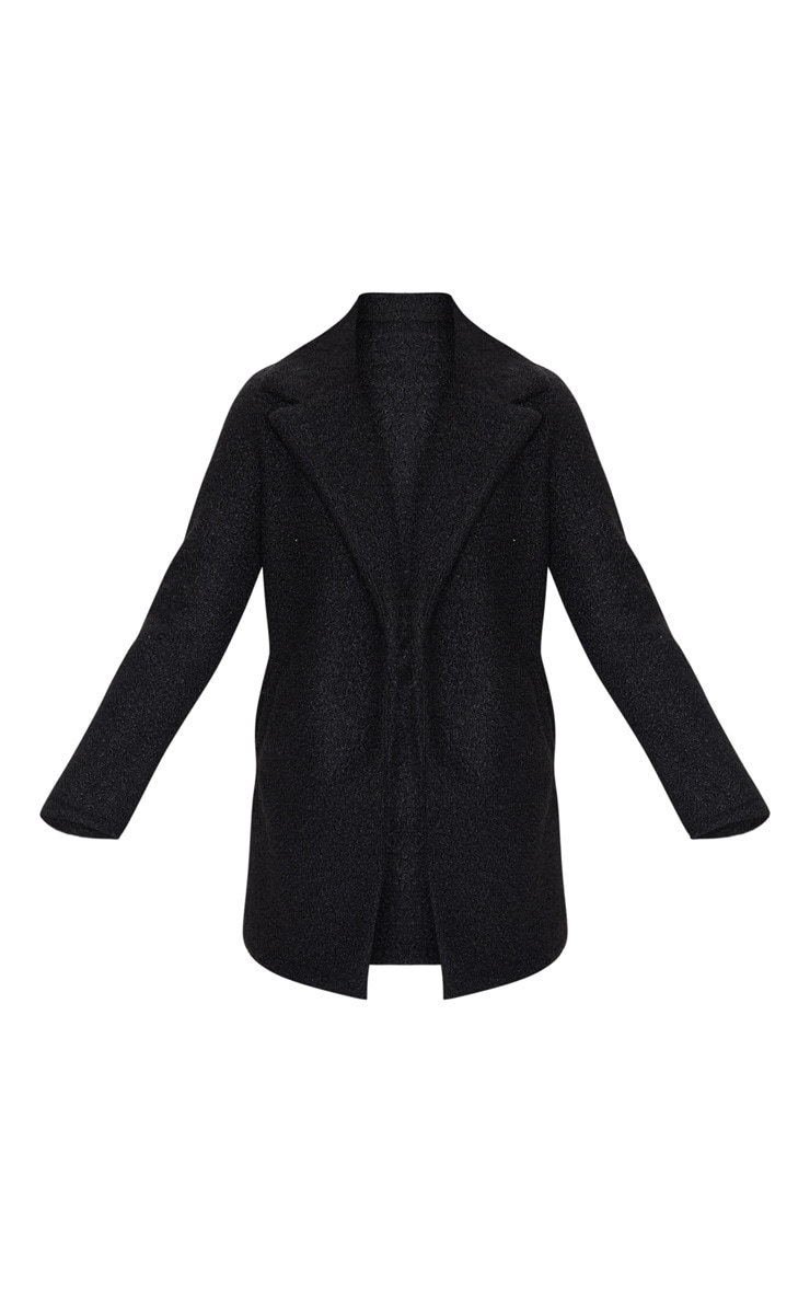 Black Textured Oversized Coat 3