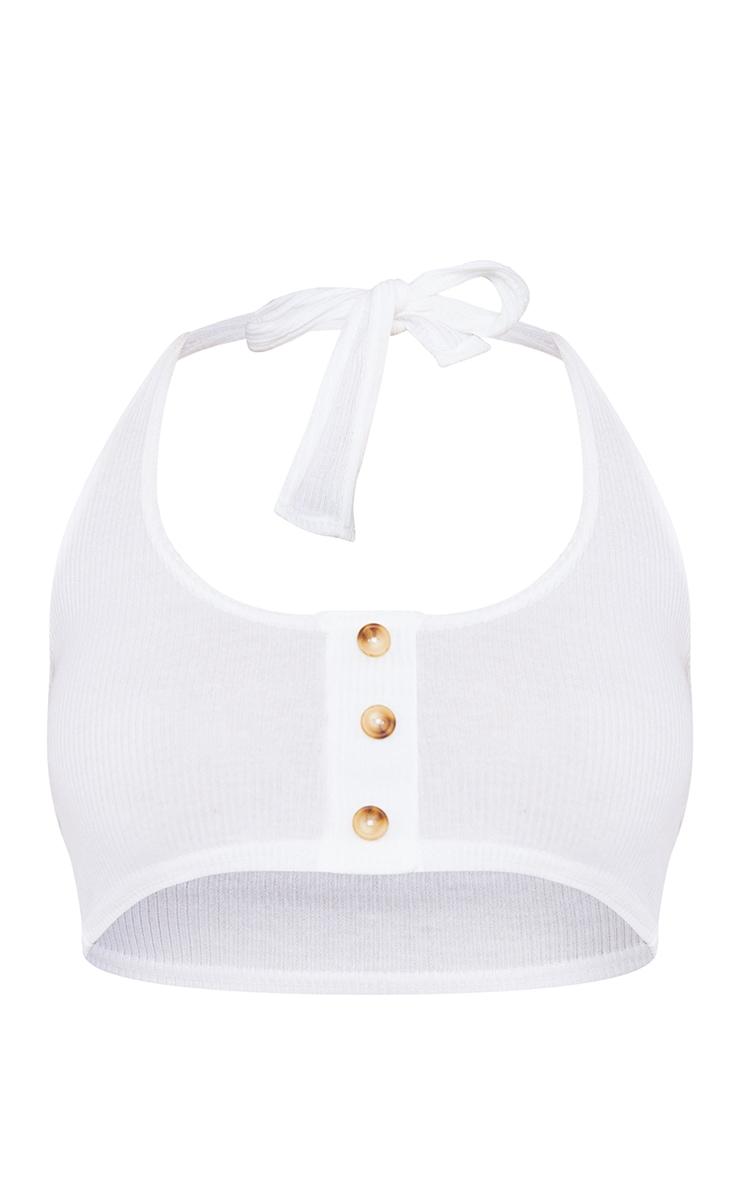 Cream Ribbed Halterneck Button Crop Top 5