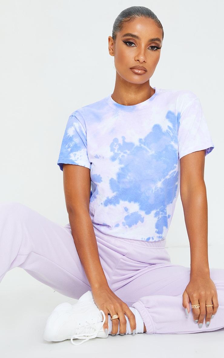 Blue Short Sleeve Tie Dye T Shirt 1