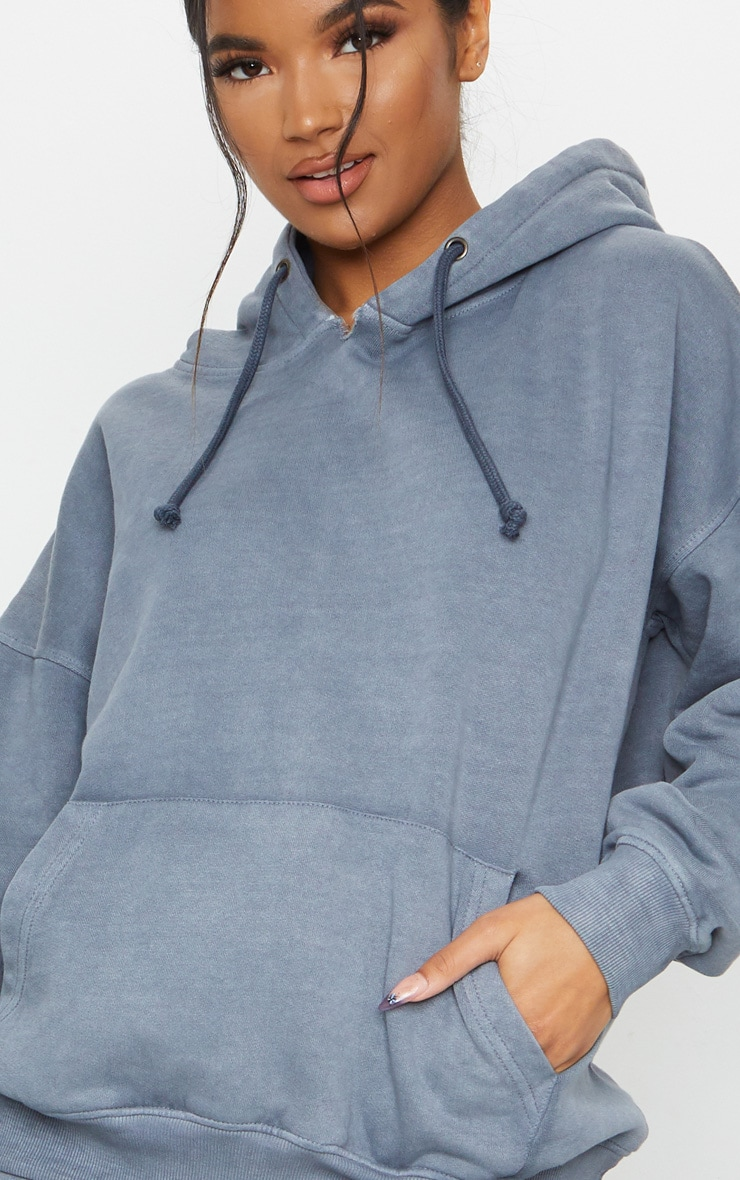 Charcoal Grey Oversized Washed Hoodie 4