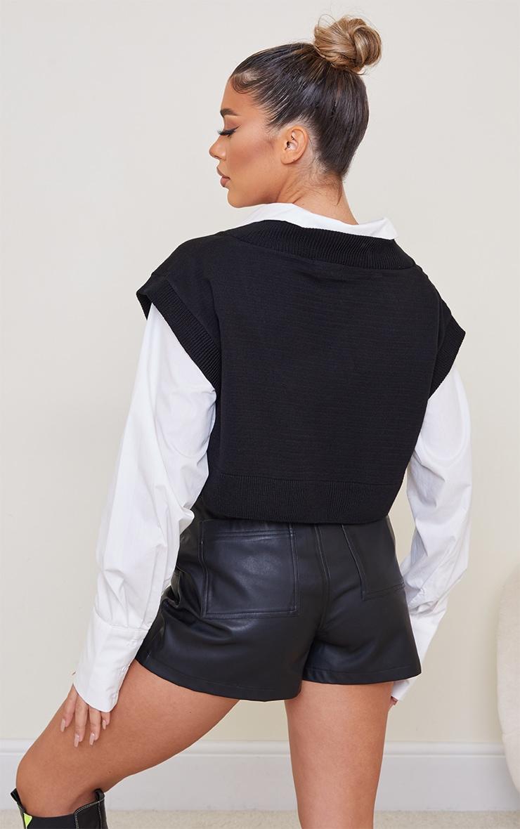 Black Crop V Neck Knitted Vest 2