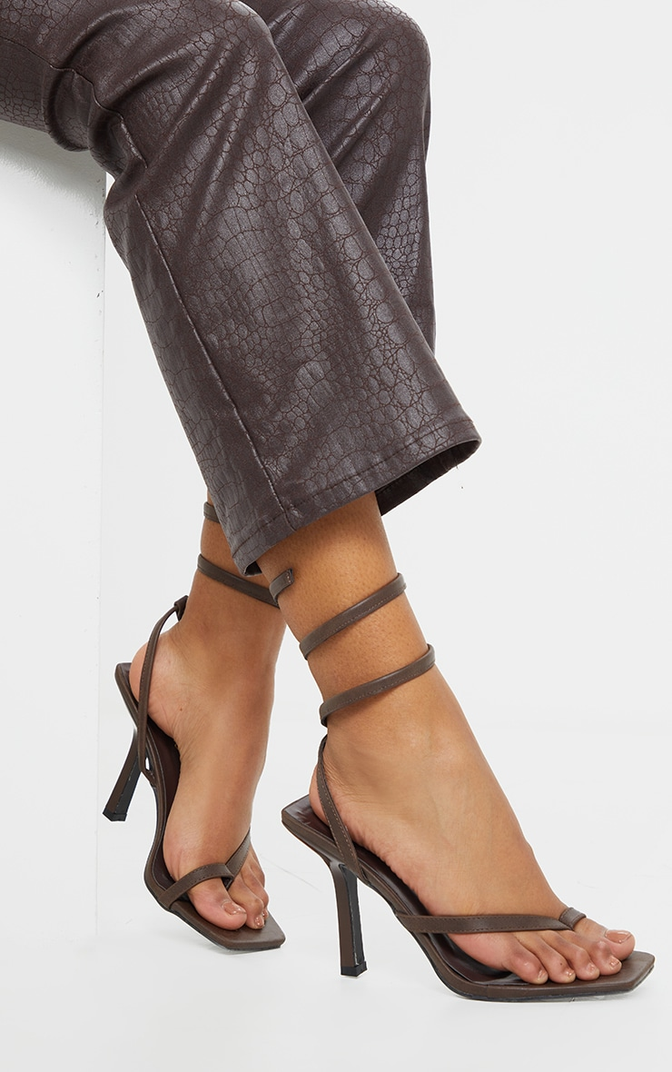 Brown Square Toe Spring Ankle Strap Heel Sandals 2