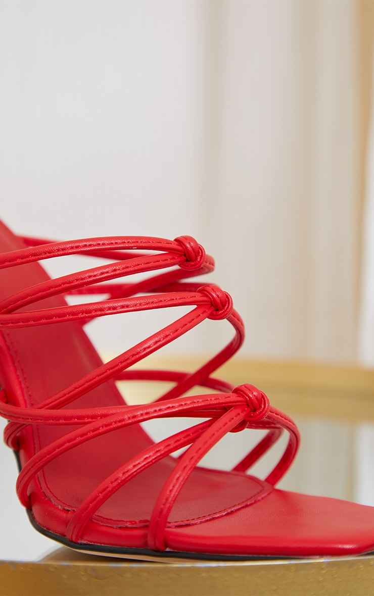 Red Square Toe Strappy Sandal Heels 4