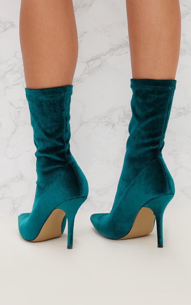 Jewel Green Velvet Pointy Sock Boots 4