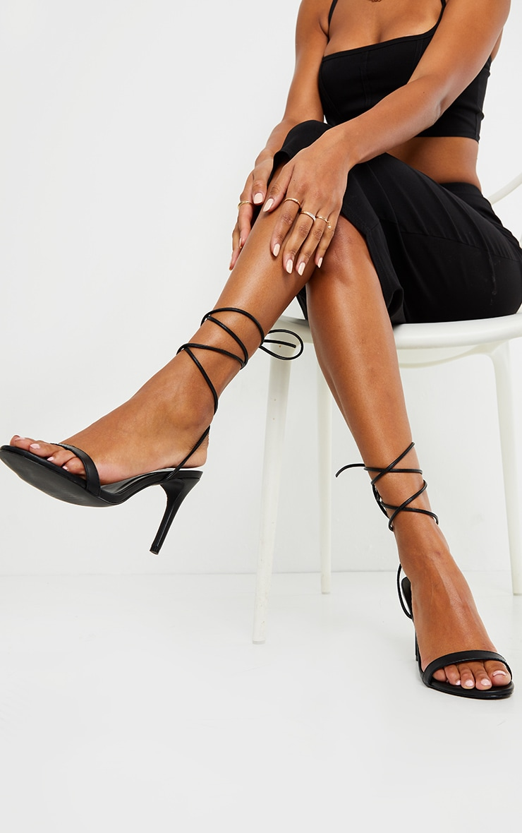 Black Wide Fit Barely There Ankle Tie Strappy Sandals 1