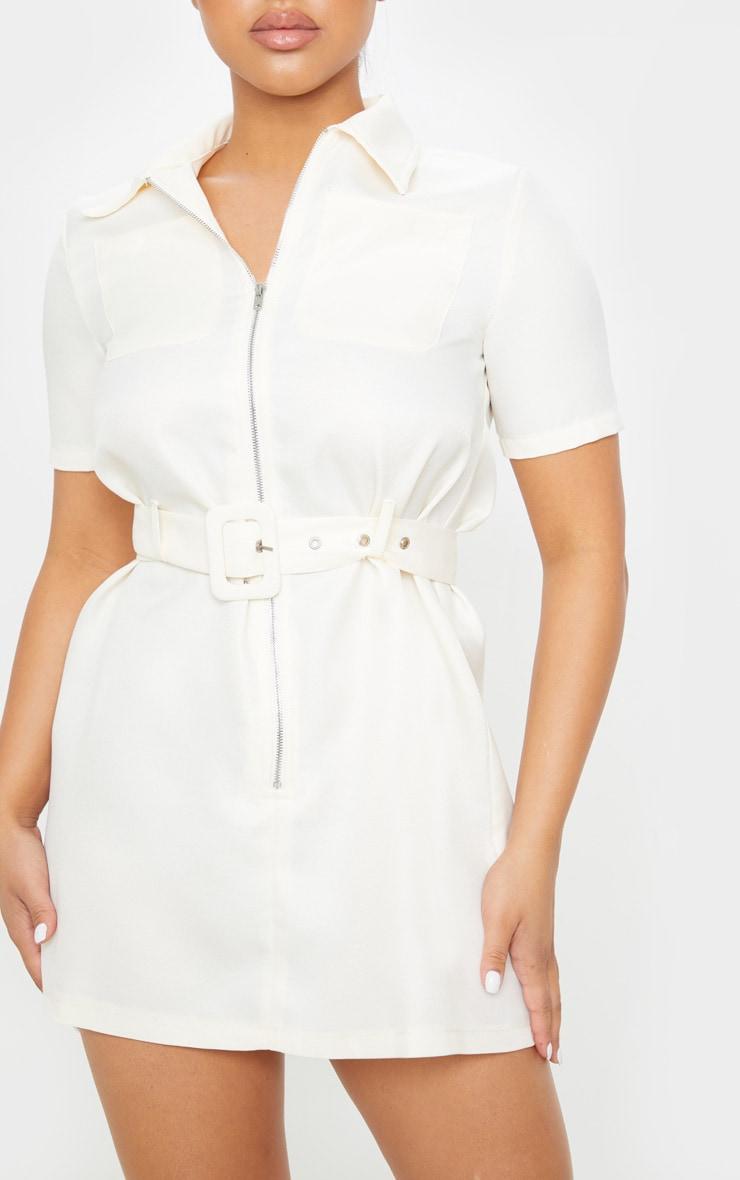 Petite Ecru Zip Detail Belted Utility Dress  5