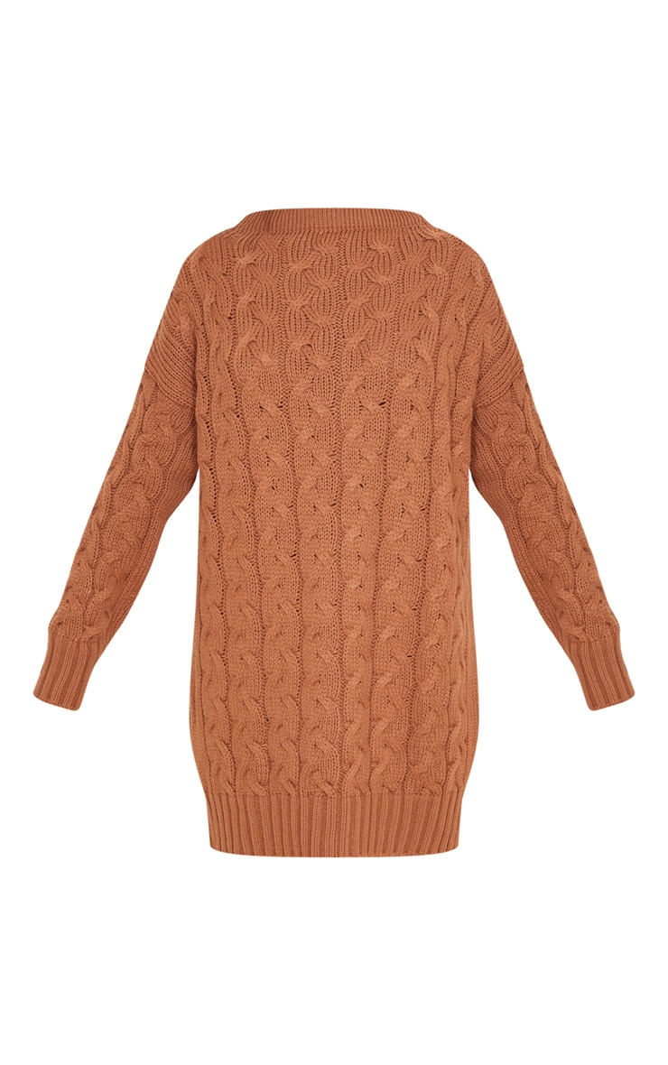 Tan Cable Detail Knitted Jumper Dress  3