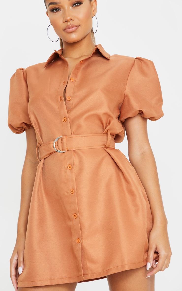 Terracotta Puff Sleeve Belted Shirt Dress 5