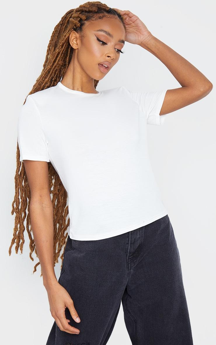 Cream Shoulder Pad T Shirt 1