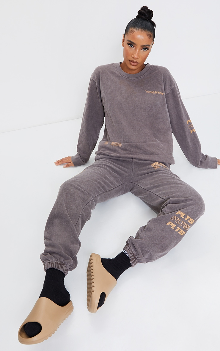 Chocolate Tonal Oversized Sports Joggers 1
