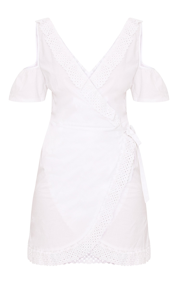 White Broderie Anglaise Cold Shoulder Shift Dress 3