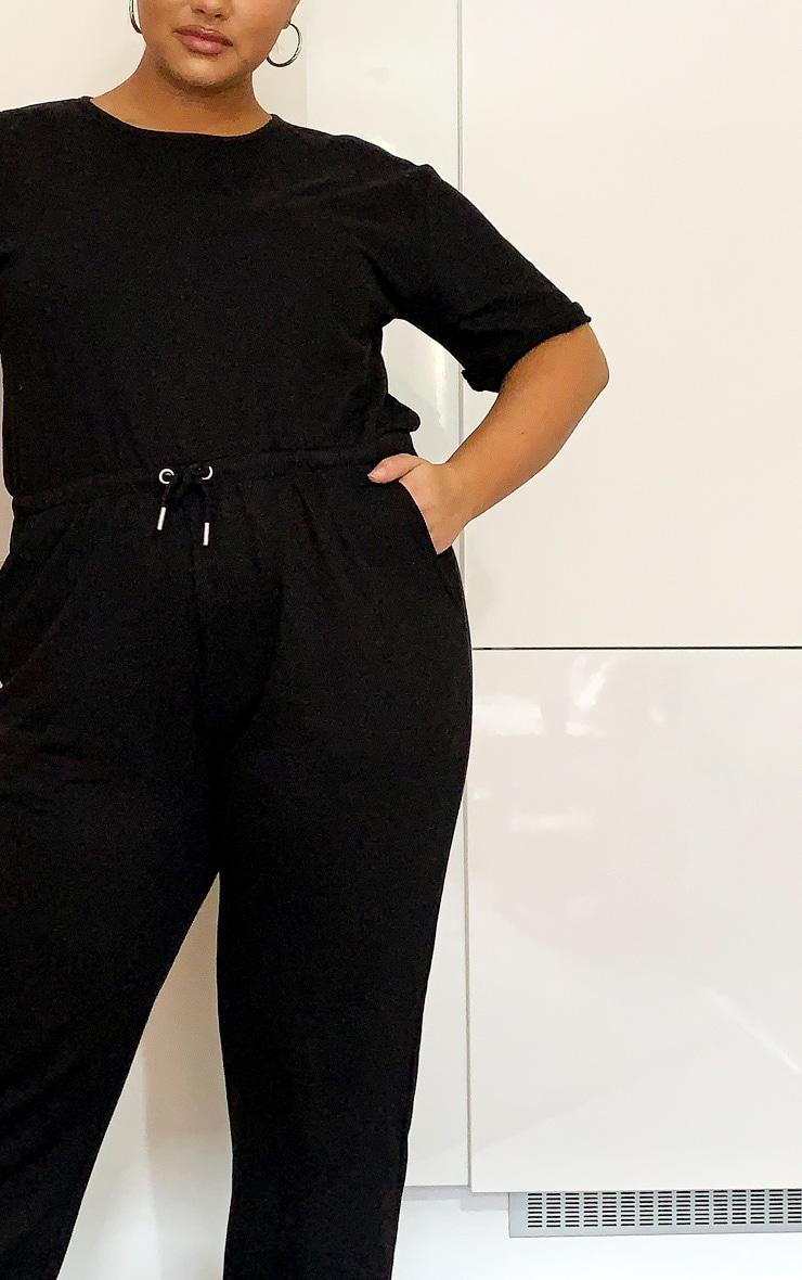 Plus Black Short Sleeve Sweat Jumpsuit 4