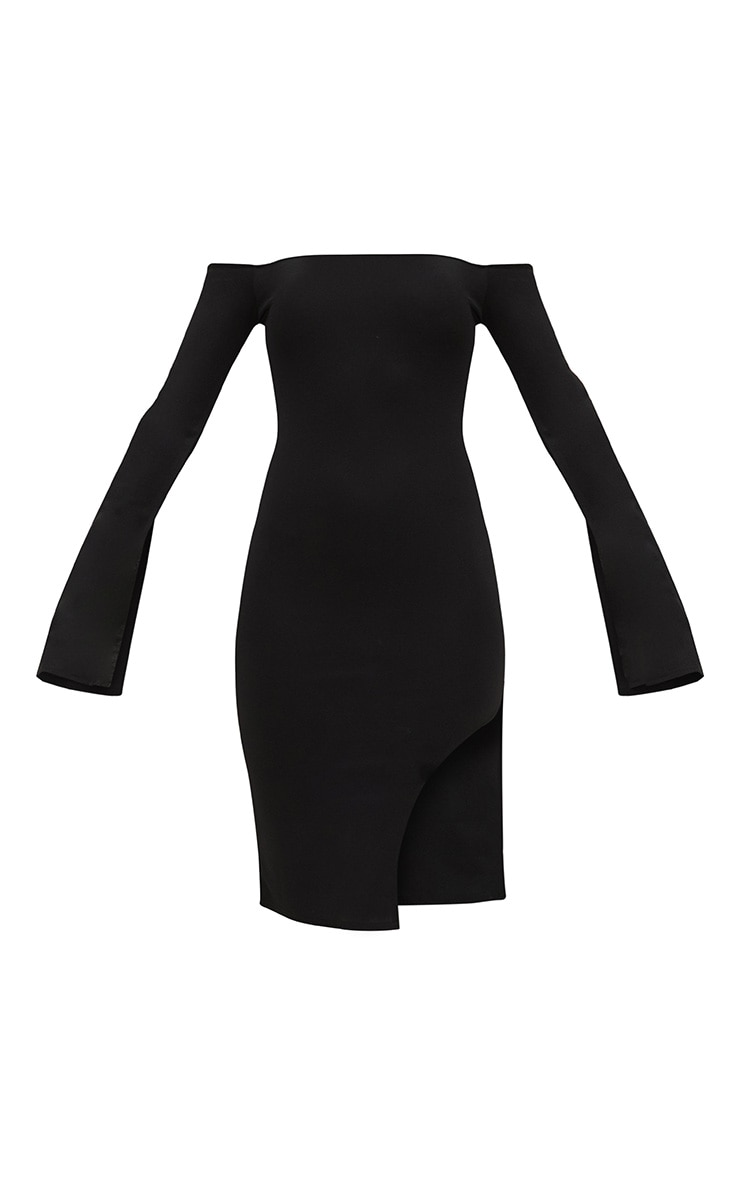 Black Bardot Split Sleeve Detail Midi Dress 3