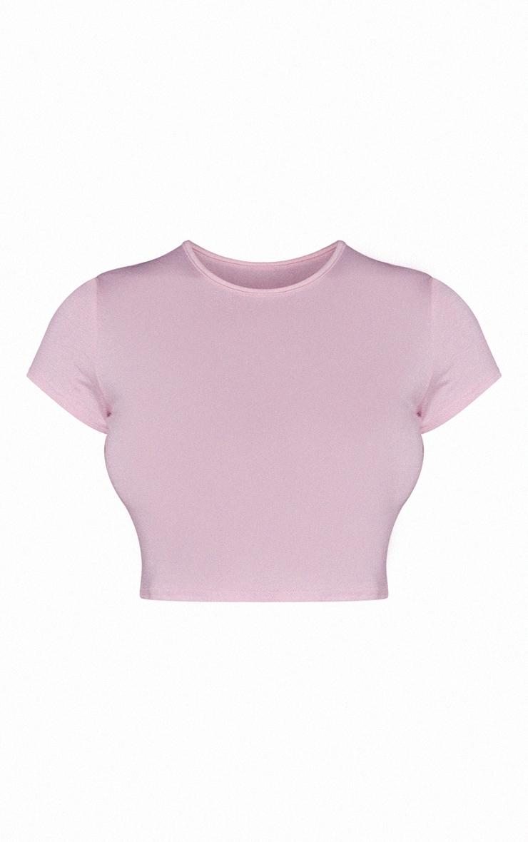 Basic Baby Pink Short Sleeve Crop T Shirt 5