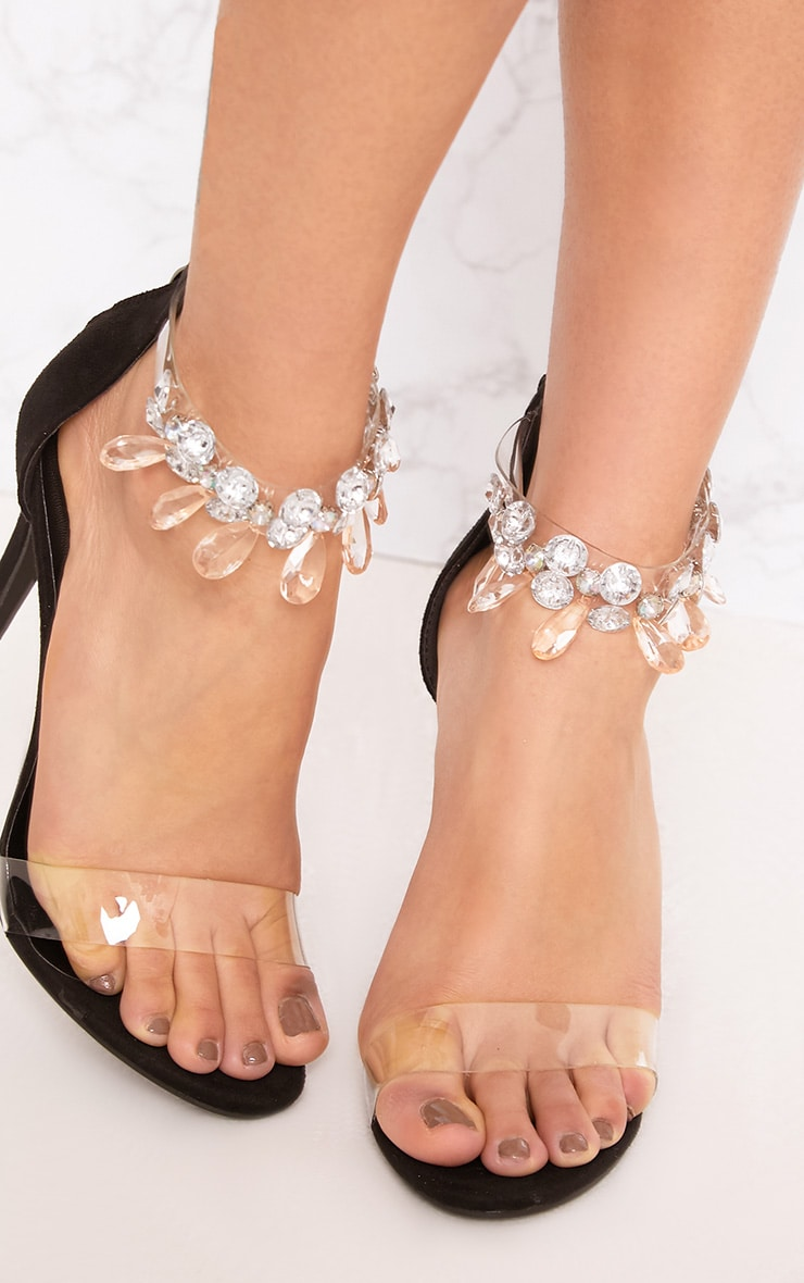 Black Jewelled Strap Heels 5