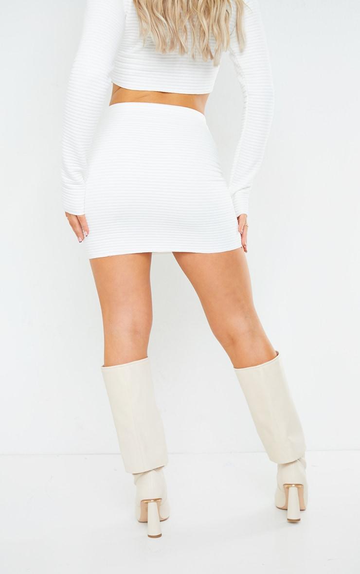 White Velvet Jumbo Rib Mini Skirt 3