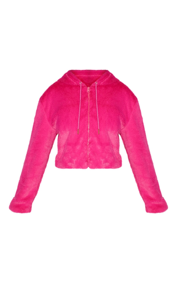 Bright Pink Cropped Faux Fur Jacket With Hood 2