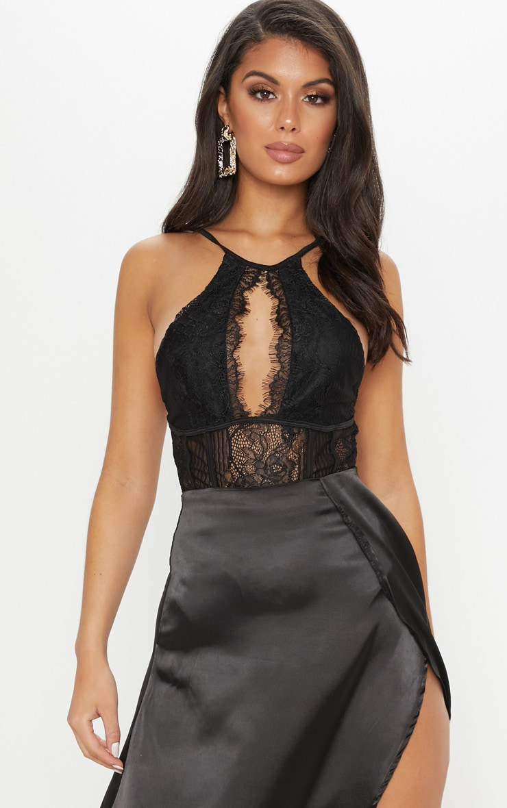 Black Halterneck Keyhole Lace Bodysuit by Prettylittlething