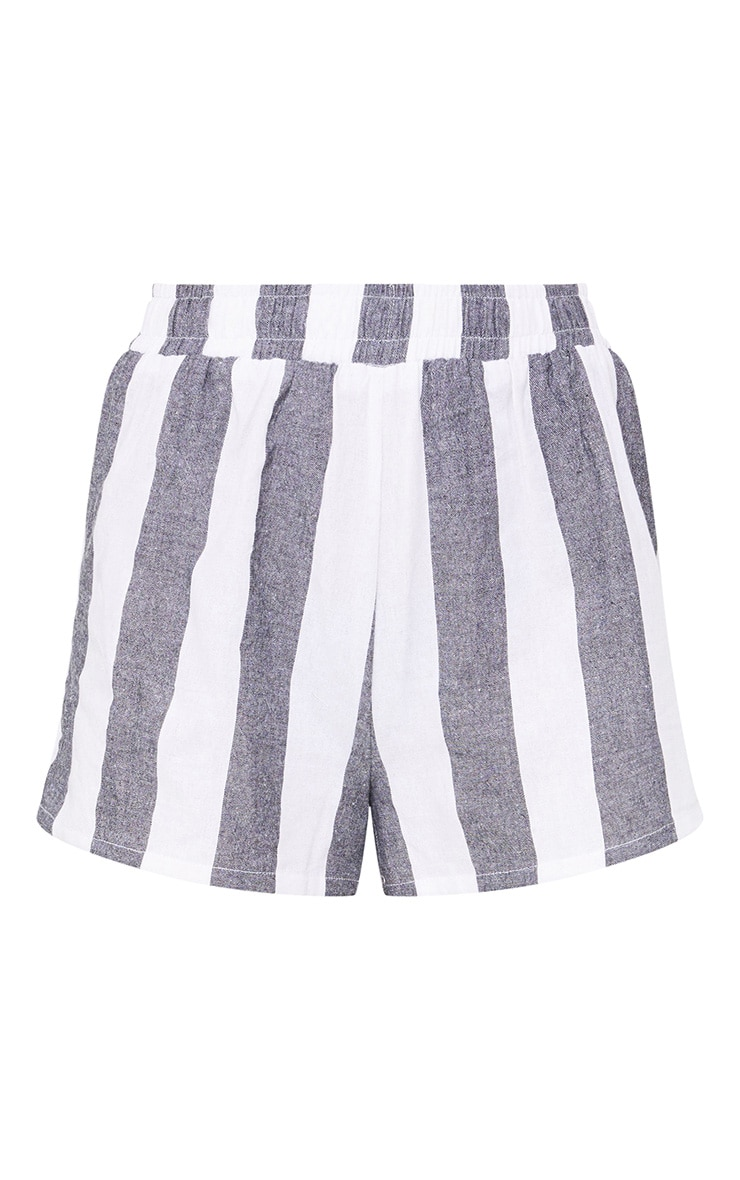 Grey Bold Stripe Beach Shorts 3