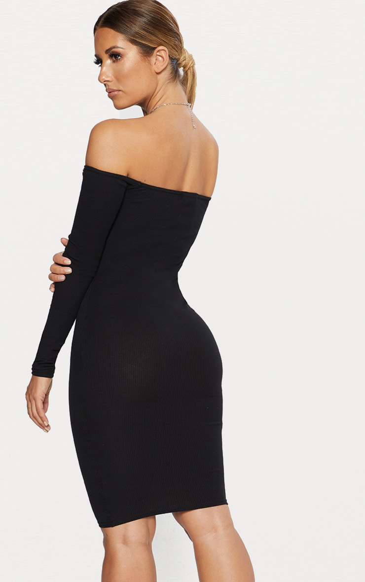 Black Bardot Ribbed Long Sleeve Midi Dress 2