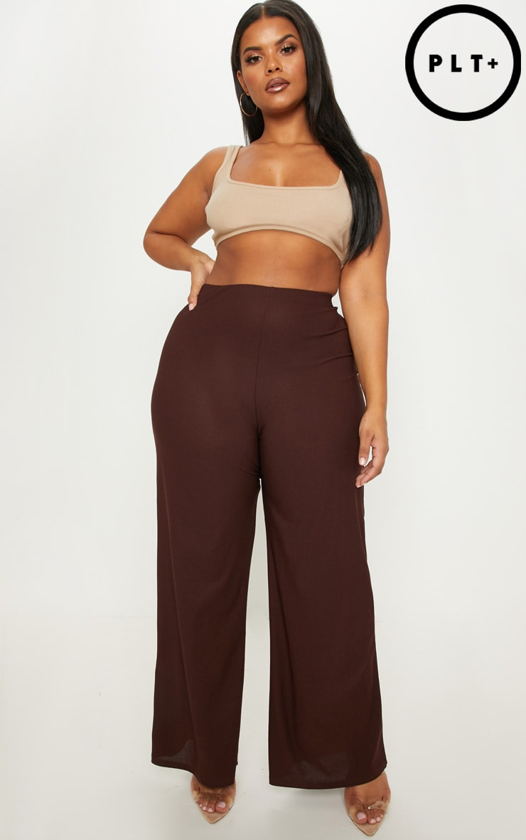 Plus Chocolate Brown High Waisted Wide Leg Trousers by Prettylittlething