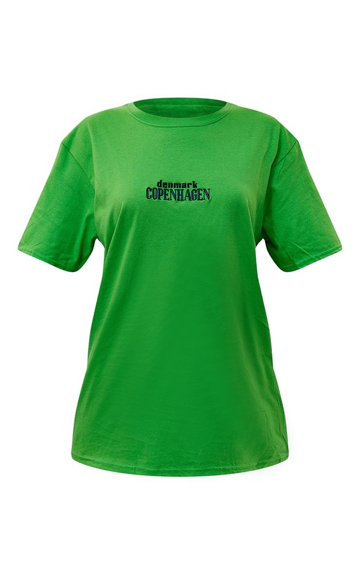 Bright Green Copenhagen Embroidered T Shirt 5