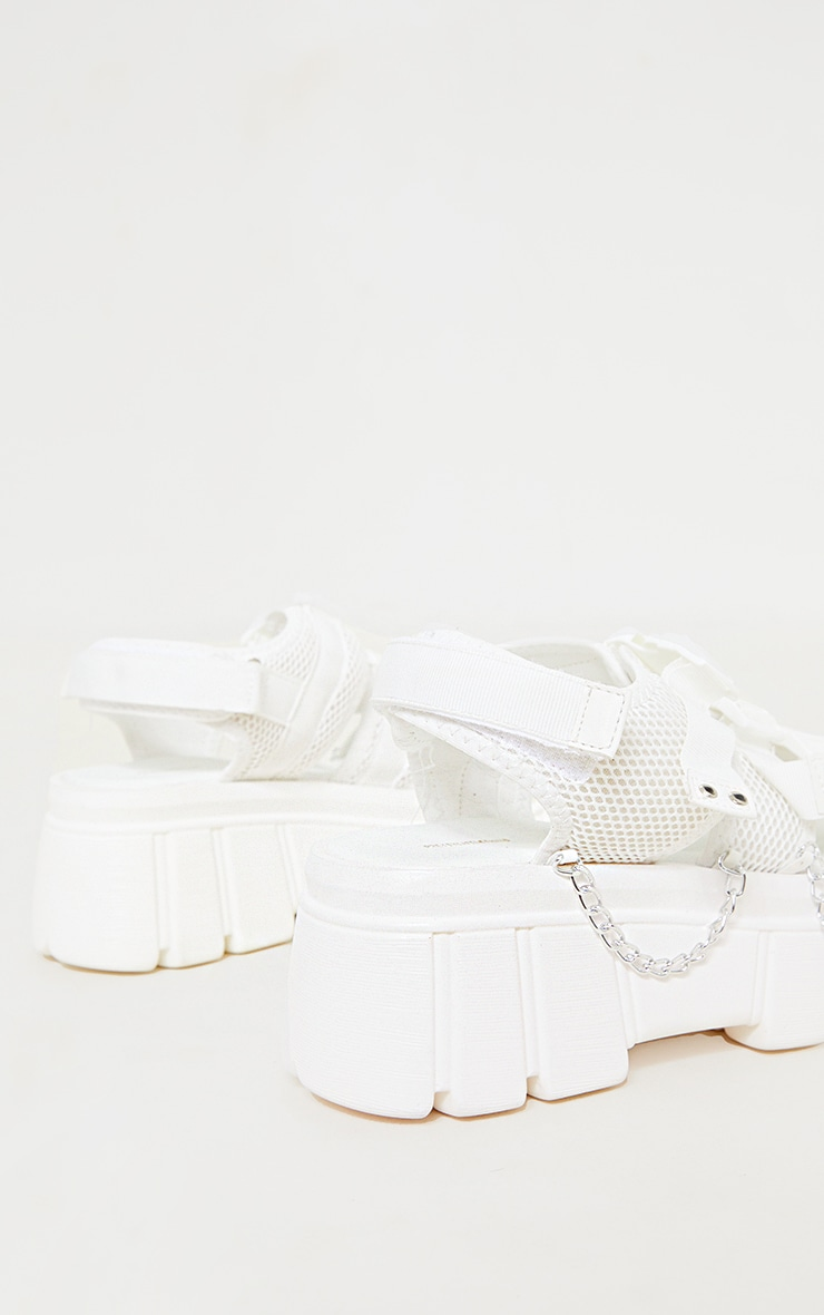 White Extreme Chunky Sole Clasp Chain Trim Sandals 4