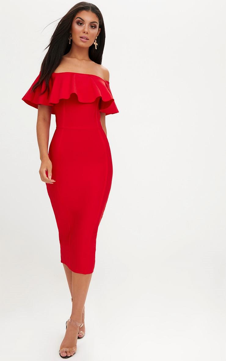 Red Bandage Frill Bardot Midi Dress 4