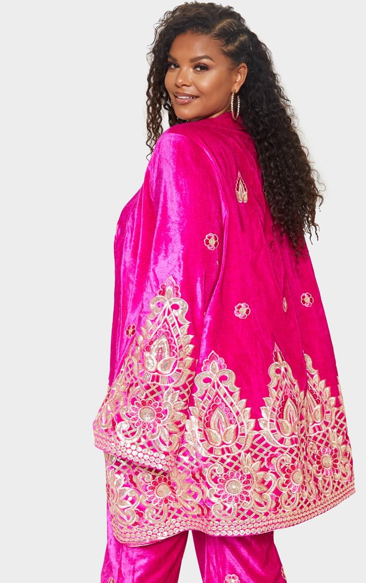 Plus Fuchsia Velvet Paisley Embroidered Kimono 3
