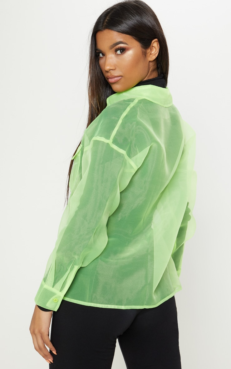 Lime Organza Pocket Detail Oversized Shirt 2