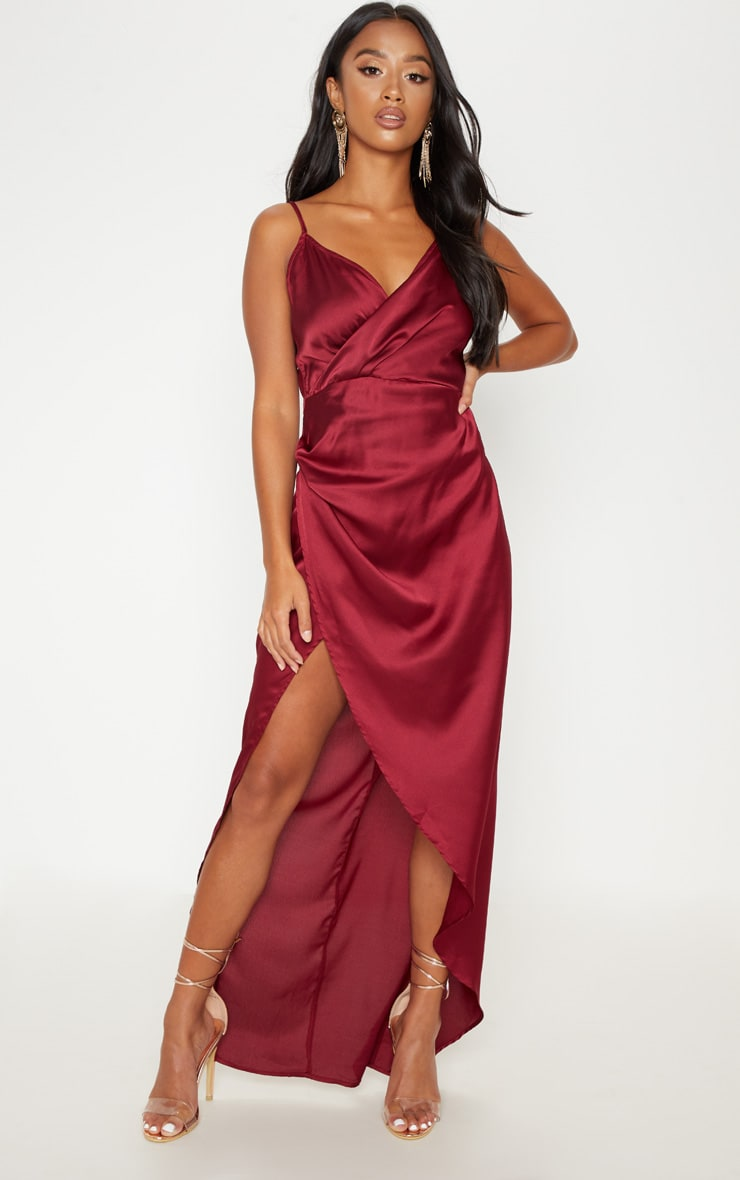 Petite Burgundy Satin Wrap Detail Maxi Dress 4