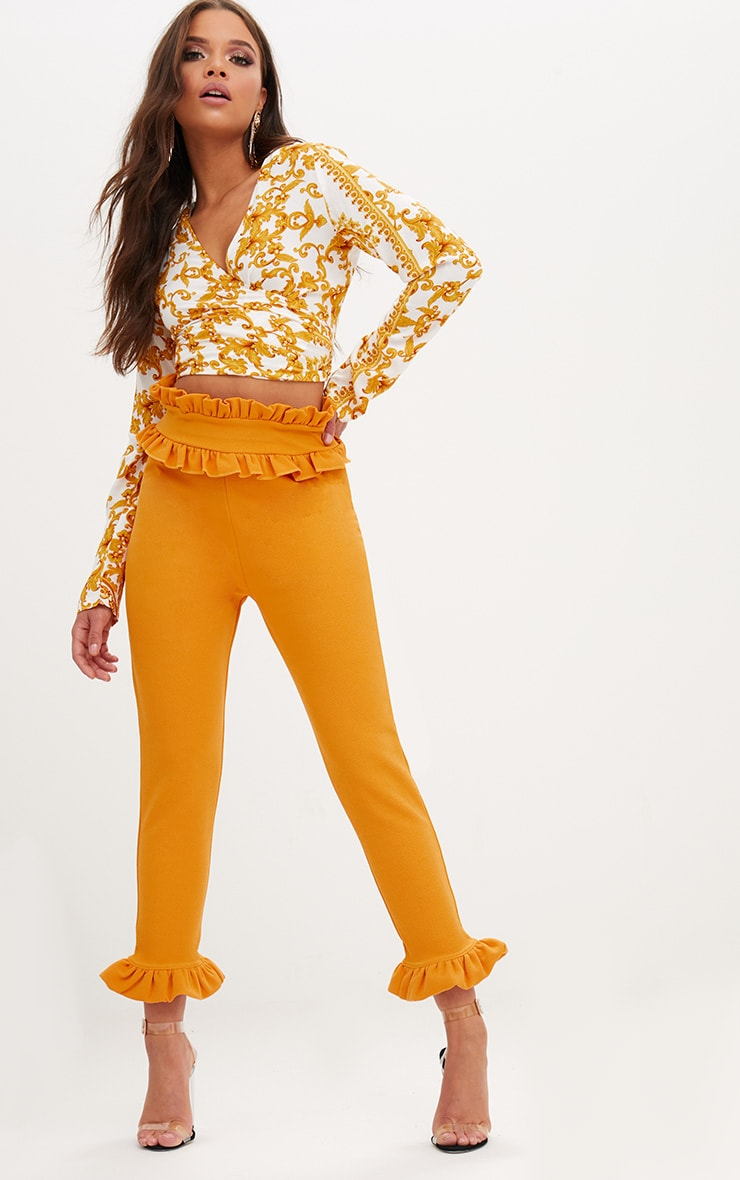 Mustard Frill Trim Trousers 1
