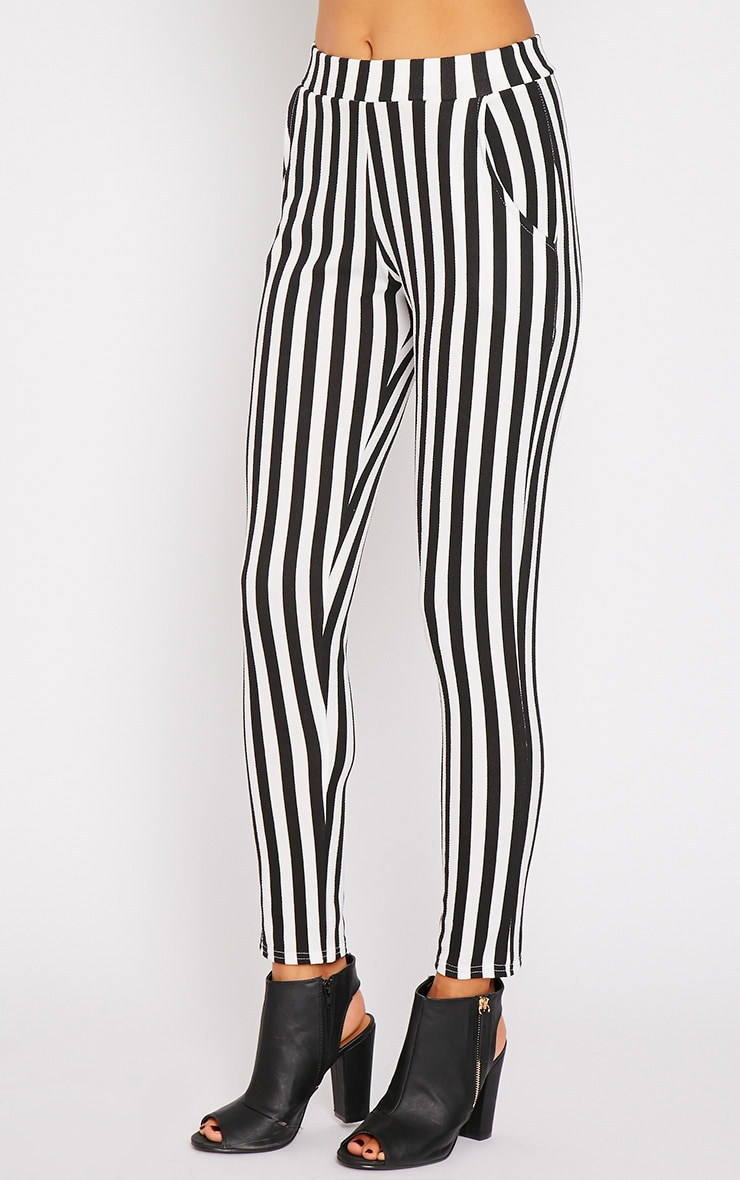 Emma Monochrome Stripe Cigarette Trousers 3