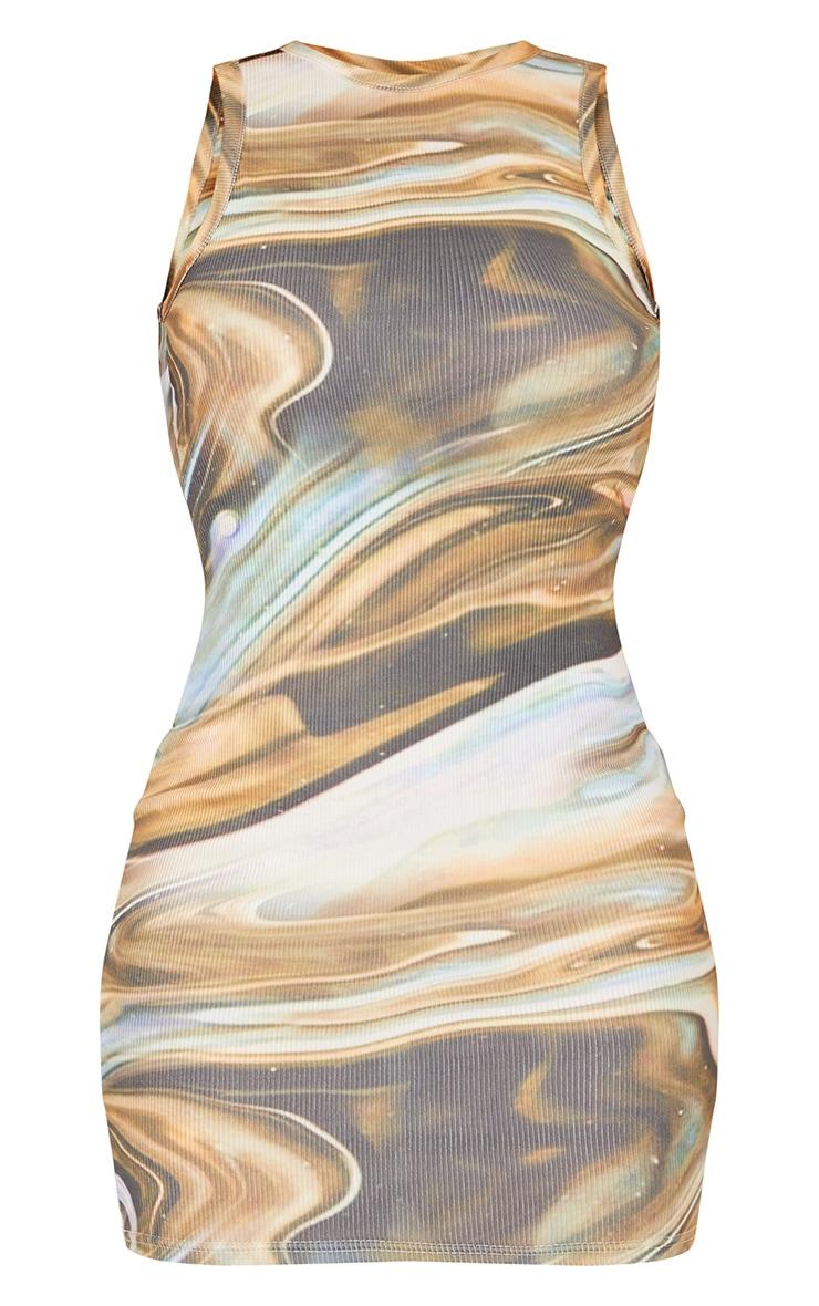 Beige Marble Print Rib Racer Neck Sleeveless Bodycon Dress 5