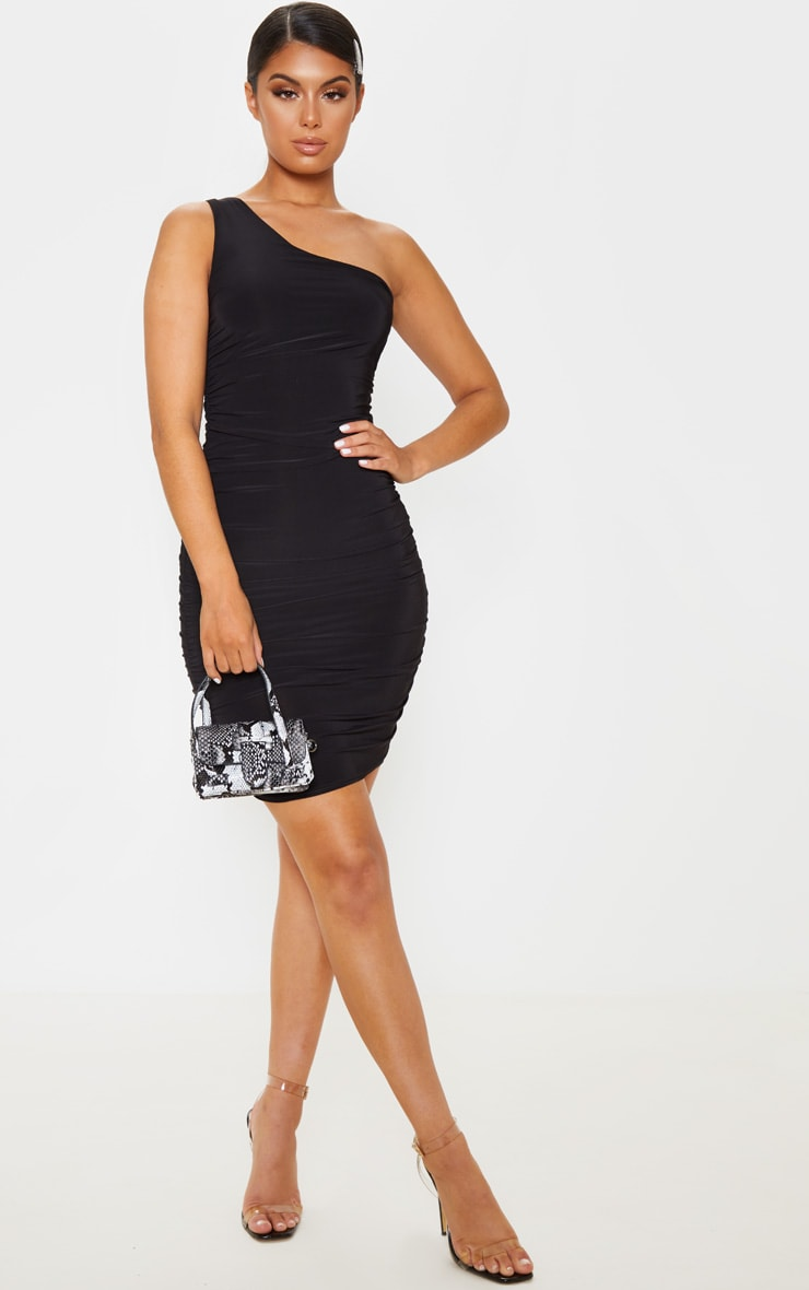 Black Slinky One Shoulder Ruched Bodycon Dress 4
