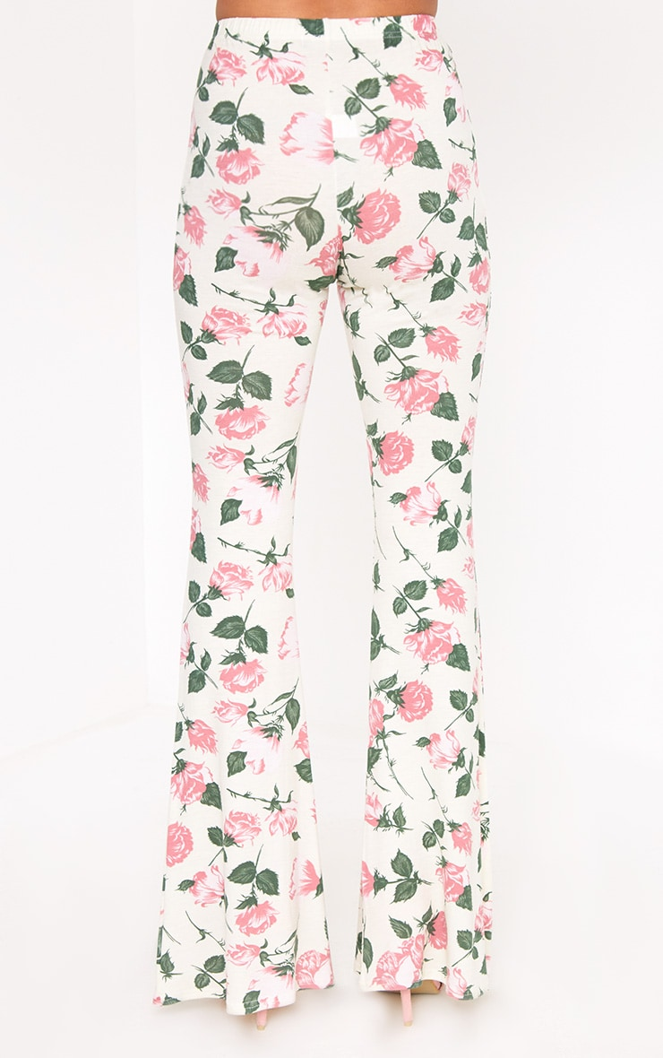 Stone Floral Print Jersey Flared Trousers 4
