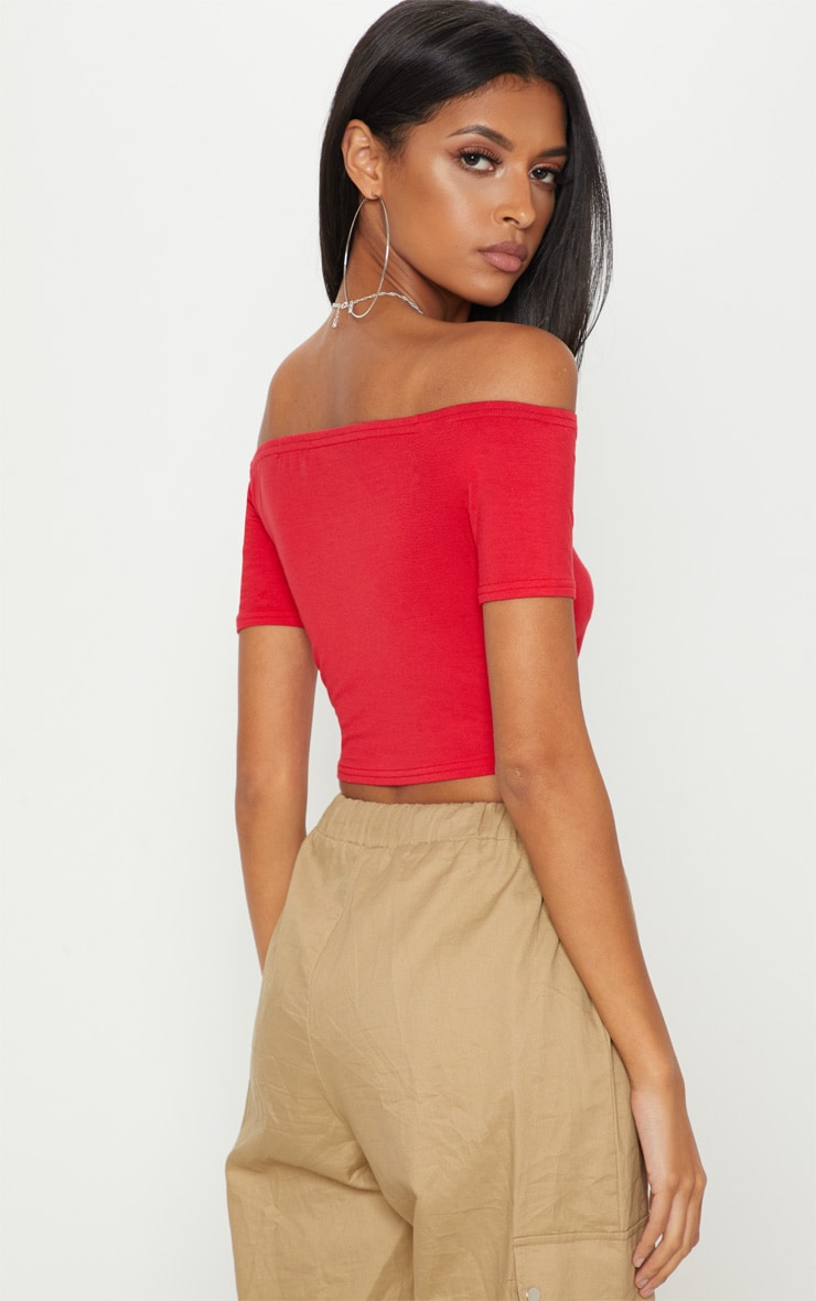 Basic Red Bardot Crop Top 2